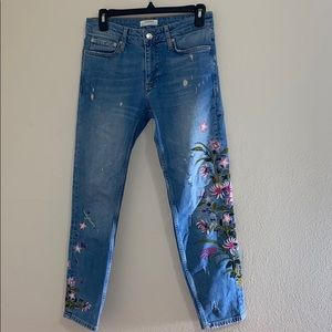 Zara Floral Embroidered Mid Rise Jeans